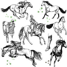 Set Of Hand Drawn Sketch Style Horses, Jockeys On Horses And Saddle Isolated On White Background. Vector Illustration.