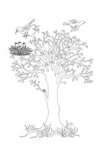 Tree With Leaves, Birds And Nest Black Outline