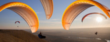 Paraglider During The Flight In The Sunlight
