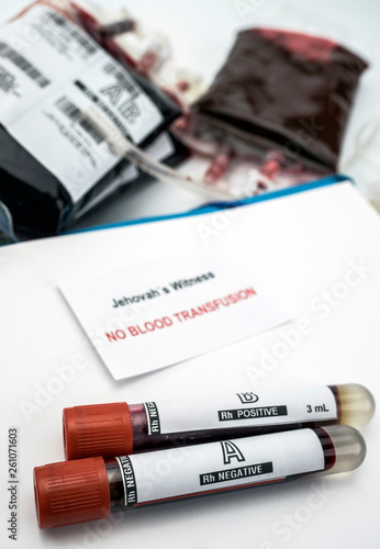 Fototapeta Diagnosis form witnesses of jehova, concept of denial of blood transfusions, con