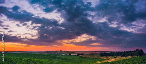 Fields landscape in summer sunset and sunrise #261073402