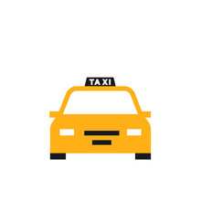 Yellow Taxi Icon. Clipart Image Isolated On White Background