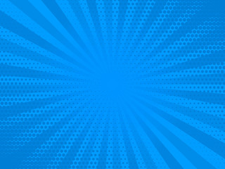 Retro comic rays blue dots background. Vector illustration in pop art retro style