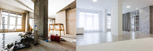 Foto  flat renovation, empty room before and after refurbishment old and new interior