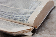 The Forgotten Old Book Covered With Salt Of The Dead Sea. Israel. Selective Focus.