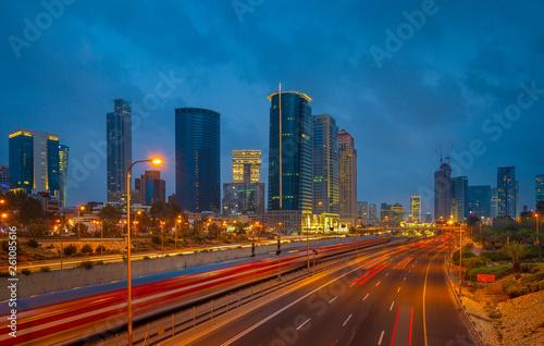 Photo Stands Beijing Sunset view of Ayalon highway over Ramat Gun skyscrapers in Tel Aviv , Israel.