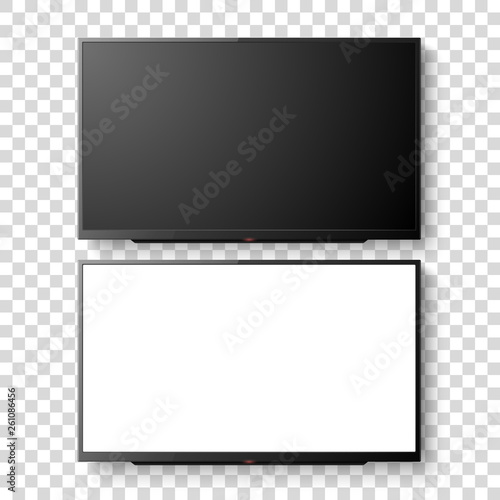 Vector 3d Realistic White Blank TV Screen Set. Modern LCD LED Panel Set Closeup Isolated on Transparent Background. Design Template of Large Computer Monitor Display for Mockup Fototapete