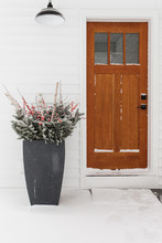 Christmas Decorations By Wood Entry Door