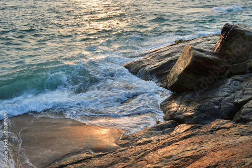 India, Kerala. Beach of the Indian ocean at sunset Canvas Print