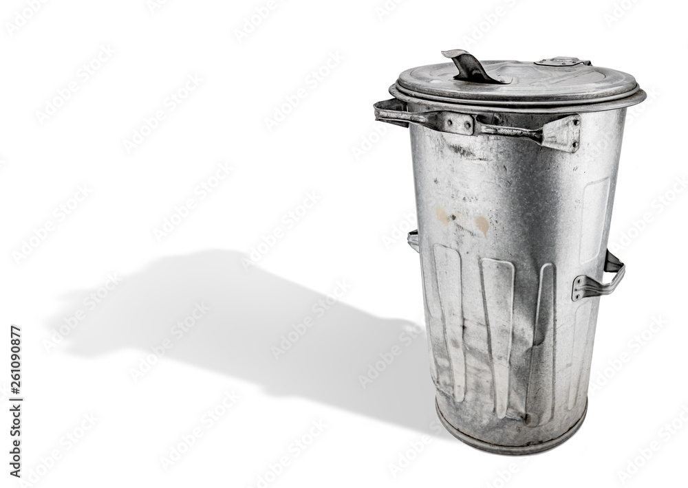 Fototapeta old trash can on white background