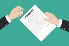 Lawsuit Paper Hands Pen Gavel