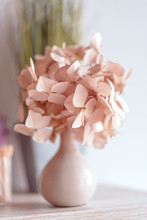 Dried Hydrangea In Vase On A T...