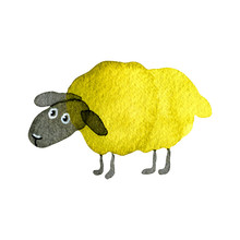 Hand Drawn Watercolor Illustration Funny Cartoon Sheep Yellow Green  Isolated On White Background