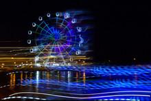 Amusement Park At Night - Ferris Wheel Neon Glow In Motion