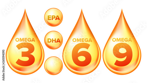 Valokuva  Omega Fatty Acid, EPA, DHA Vector Drops Set