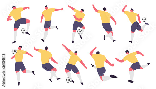 Fotografie, Tablou  Soccer Players Action. Football Vector Sport Set