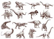 Vintage Set Of Dinosaurs ,vector Illustration,retro Pattern