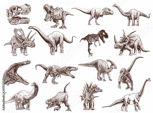 Vintage set of dinosaurs ,vector illustration,retro pattern Canvas Print