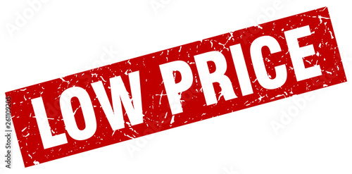 Fotografía  square grunge red low price stamp