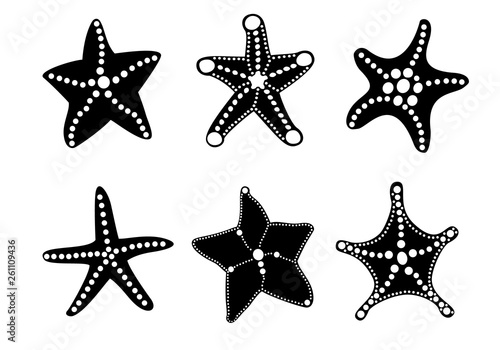 Fotografie, Obraz  Starfish silhouette icon set for your ocean design