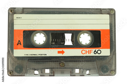 Fototapeta Old cassette tape isolated on a white background
