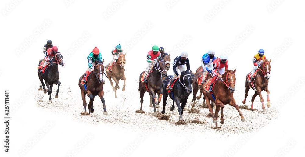 Fototapety, obrazy: horse jockey racing isolated on white background
