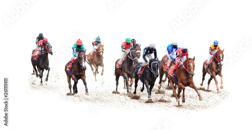 In de dag Paarden horse jockey racing isolated on white background