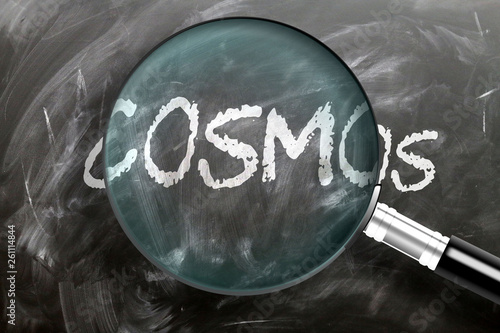 Learn, study and inspect cosmos - pictured as a magnifying glass enlarging word cosmos, symbolizes researching, exploring and analyzing meaning of cosmos, 3d illustration