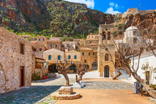 Monemvasia, Greece Panorama With Old Houses And Elkomenos Christos Church In Ancient Town, Peloponnese, Greece