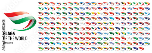 Fototapeta National flags of the countries. Vector illustration on white background obraz