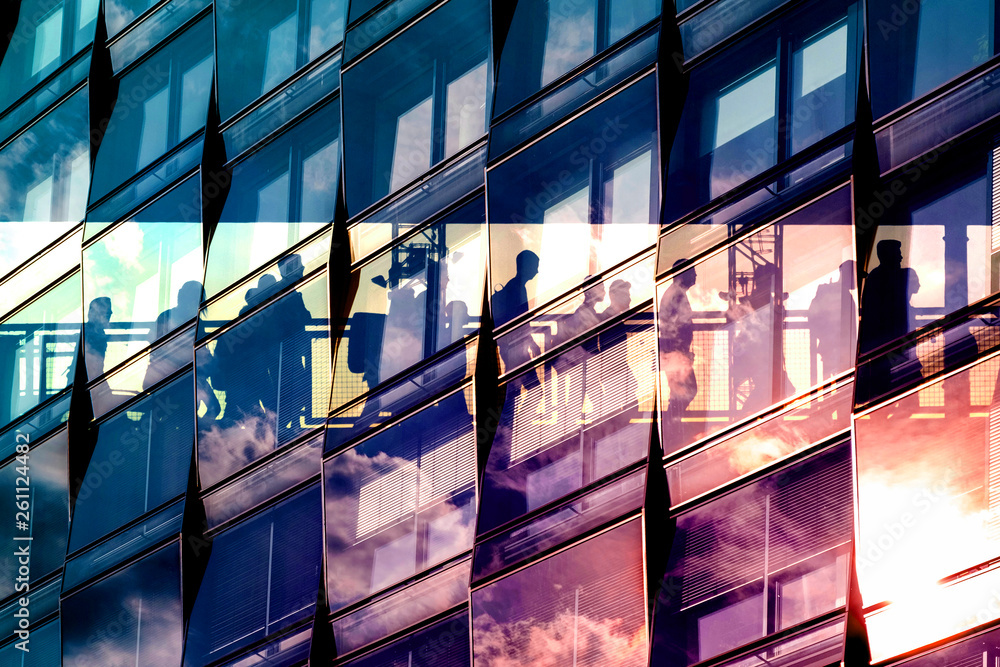 Fototapeta people and city double exposure - abstract business concept  -