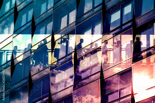 Fényképezés people and city double exposure - abstract business concept  -