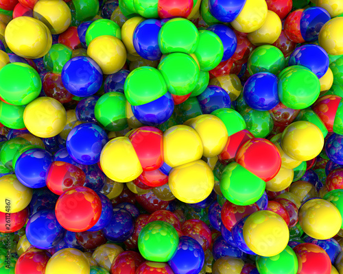 Abstract 3D illustration of rendered colored geometric balls in the form of elements of top view in the background.