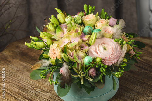A bouquet of flowers for the holiday romantic gift to the girl close up wallpaper