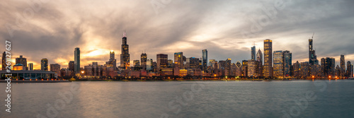 Poster Chicago Panorama of the Chicago Skyline at Sunset