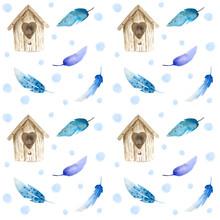Watercolor Brown Birdhouse, Wi...