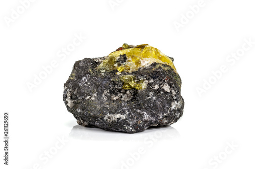 Macro of mineral stone Anglesite in Galena on white background Canvas Print
