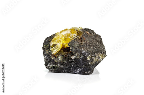 Photo Macro of mineral stone Anglesite in Galena on white background