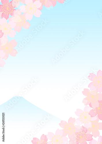 Poster Blanc 桜 富士 和柄 背景 フレーム