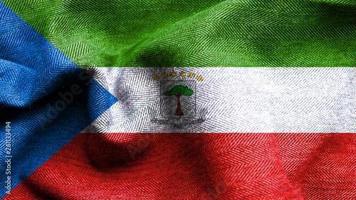 Fotografía High resolution Ecuatorial Guinea flag flowing with texture fabric detail