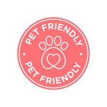 Pet Friendly Icon. Red Round Icon.