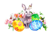 Easter Bunny In Spring Flowers With Colored Eggs, Grass, Pink Flowers. Watercolor