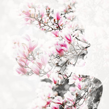 Double Exposure Photo Made With Portrait Of Young Beautiful Woman And Blooming Magnolia