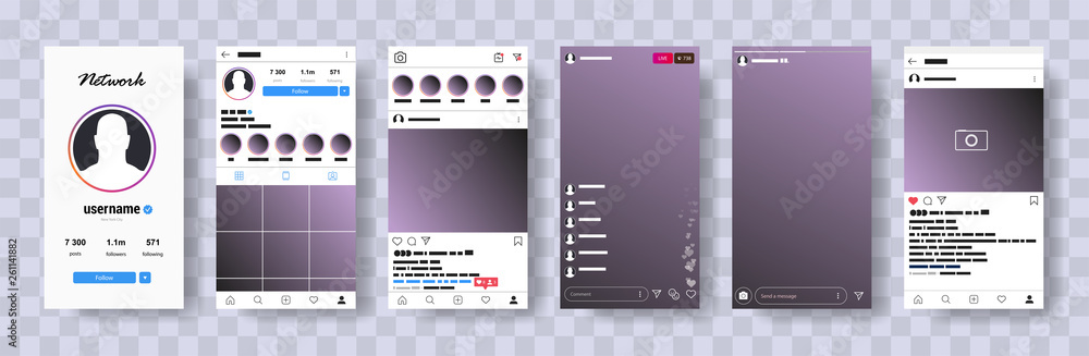 Fototapety, obrazy: New Mock up.  Mobile instagram mock-up.  Web site mobile template. Social network interface mock up. UI UX KIT Flat design. Vector