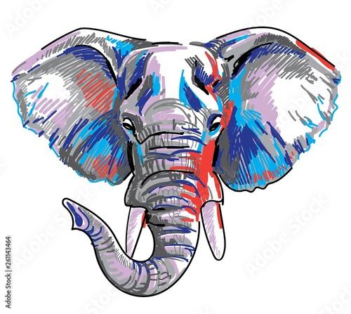 The head of an African elephant Wallpaper Mural