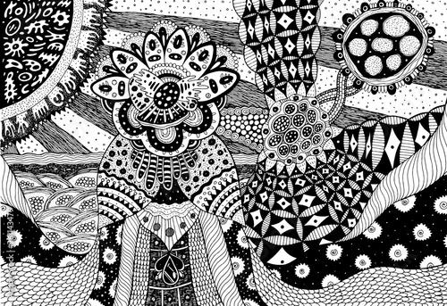 Cuadros en Lienzo Fantastic creature with floral head