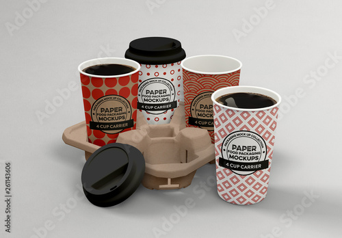 4 Coffee Cups Carrier Mockup. Buy this stock template and