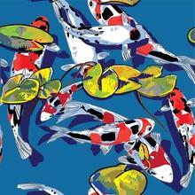 Seamless Pattern With Koi Carps. Fish In The Pond. Multi-colored Carps. Stylish Pattern, Japanese Pattern.