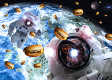 Astronauts In Outer Space With Cheseburgers On The Earth And Marts Planets On The Background. Science Fiction. Elements Of This Image Furnished By NASA