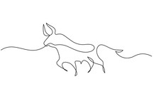 Continuous One Line Drawing. B...